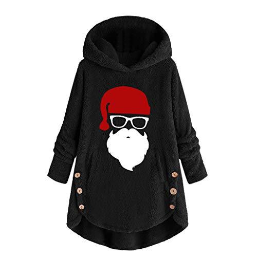 Alwayswin Damen Weihnachten Plüsch Warmer Hoodie Plus Größen Knopf Pullover mit Kapuze Teddy-Fleece Lose Kapuzenpullover Langarm Lange Bluse Wolleweihnachtsmann Sweatshirt