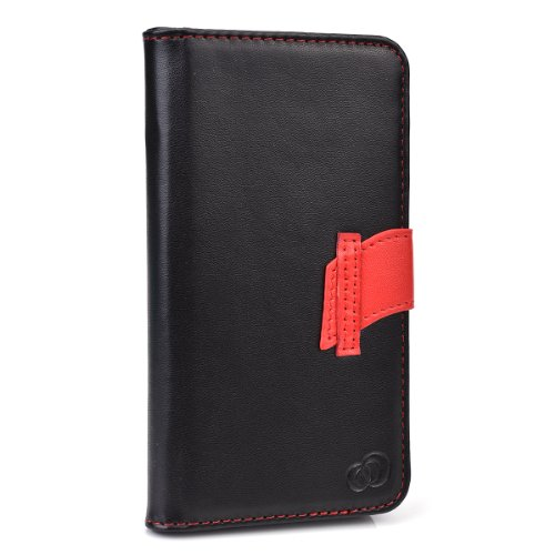 Kroo Flip Cover Folio Wallet Case for Samsung Galaxy S5 with Flap - Non-Retail Packaging - Black and Red