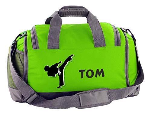 Mein Zwergenland Sporttasche Kinder mit Schuhfach und Nassfach Kindersporttasche 41L mit Namen personalisiert, Motiv Kampfsport, in Lime Grün