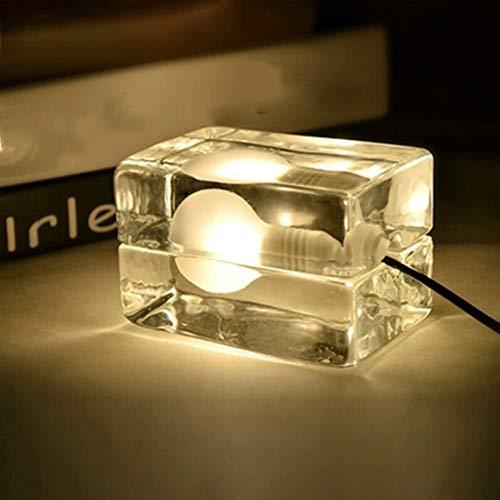 XQDSP Lampe de Table à LED Deux Couleurs en Option Haute Transparent Cristal en Verre Abat-Jour Lampe À Glaçons Cube Étude Bureau Chambre Lampe De Chevet,Warmlight