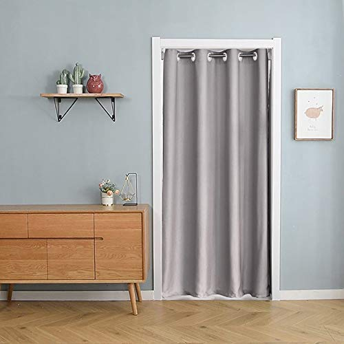 pureaqu Grommet Grey Doorway Curtain Panels 79 Inches Long Thermal Insulated Solid Room Divider Curtain Draperies for Kitchen Bedroom Closet 1 Panel W39 x L79 Inch