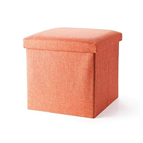 ZfgG podnóżek składany miejsce do przechowywania z pokrywą przyczółek do butów stołek stołek tapicerowane podnóżek tkanina lniane siedzisko z poduszką do korytarza | salon w kolorze pomarańczowym maks. 150 kg