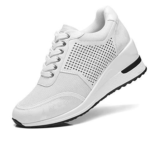 Zapatillas Deportivas Plataforma Cuña para Mujer - ANJOUFEMME Zapatos Wedge Sneakers Mujer, Apto para Todas Las Estaciones SM1-WHITE-39
