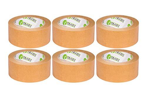 V1 Trade - Papier Klebeband, Papier Packband Braun, biobasiertes Material Eco Packing Tape, Naturkautschuk - 48 mm x 50 m (48 mm x 50 m (6 Stück))