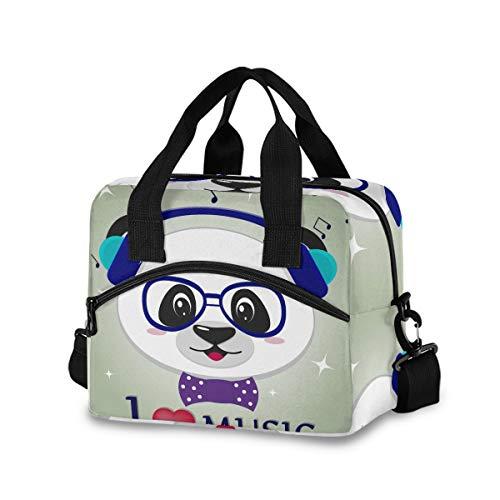Mnsruu - Bolsa de Almuerzo con diseño de Panda con Texto en inglés Love, Reutilizable, Bolsa de Hombro, aislada, para Picnic, canotaje, Trabajo y Escuela