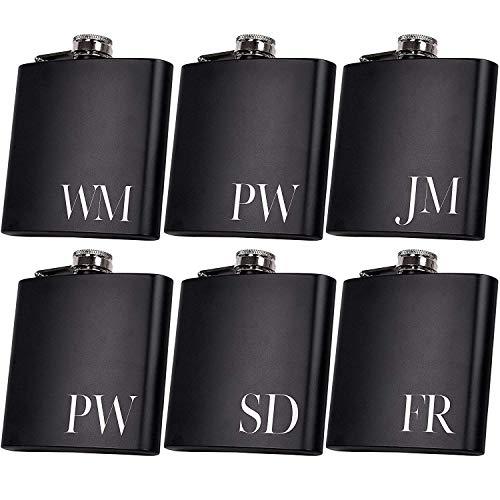 Set of 6, Set of 3, Single - Personalized Flask, Groomsmen Gift, Customized Groomsman Flasks, Wedding Favors, Matte Black (1)