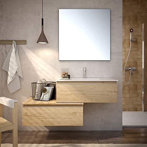 Aquore | Mueble de Bano con Lavabo y Espejo | Mueble Bano Modelo Serby 2 Cajones Suspendido | Muebles de Bano | Diferentes Acabados Color | Varias Medidas (Bamboo, 80 cm)