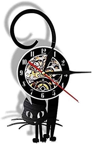 Reloj de Pared de Vinilo Reloj de Pared con Registro de Vinilo de Gato Negro Reloj de Pared Moderno con diseño de Gatito Animal Retro Reloj de Pared Hecho a Mano decoración del hogar Regalo para