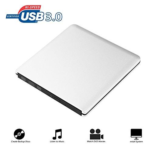 Extern DVD Laufwerk Ultraslim Tragbare CD Brenner, 9.5mm Chip, CD/DVD-RW ROM USB 3.0 Drive Externes DVD-Laufwerk Superdrive für Laptops Desktops PC unter Windows und Mac OS für Apple Macbook