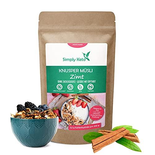 Simply Keto Knusper Müsli Zimt - Low Carb Müsli ohne Zucker - 500g Leckeres Keto Müsli für ein perfektes Frühstück - Paleo & Vegan - Soja, Laktose- & Glutenfrei - 500g