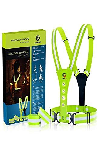 LUMEFIT Warnweste, Reflektorweste, Sicherheitsweste | Reflektierende Laufwesten mit Armbändern | High-Vis für die Sicherheit von Kindern, Frauen, Männern | Verstellbare Ausrüstung 8 helle LEDs (Gelb)