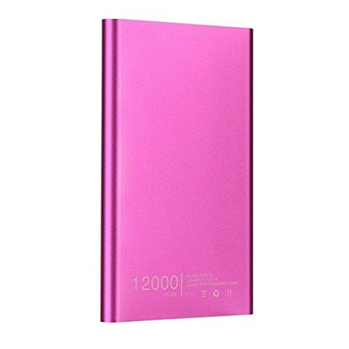 Gaddrt Ultraminces 12000mah Portable USB Externe Chargeur de Batterie Power Bank pour téléphone (Rose Vif)