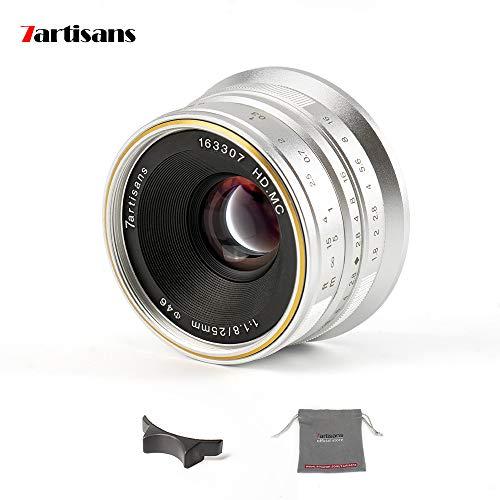 7artisans F1.8 - Lente fija de enfoque manual para cámaras Olympus y Panasonic Micro Four Thirds MFTM4/3, 25 mm, color plateado
