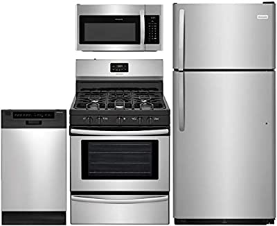 """Frigidaire 4-Piece Kitchen Appliance Package with FFTR1821TS 30"""" Top Freezer Refrigerator FFGF3052TS 30"""" Freestanding Gas Range FFMV1645TS 30"""" Over-the-Range Microwave and FFBD1821MS 18"""" Full Console Dishwasher in Stainless Steel"""