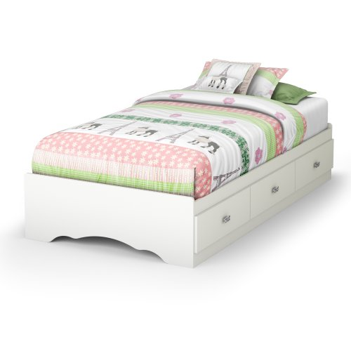 South Shore Tiara Collection Twin Bed with Storage - Platform Bed with 3 Drawers - Pure White by