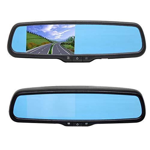 RED WOLF Auto Rückfahrkamera Display Monitor Rückspiegel Bildschirm Innenspiegel für Audi Volkswagen Skoda Digital Farbe 2 RCA Cinch LCD TFT 4,3 Inch 12V für VCD DVD DVR Rückfahrkamera