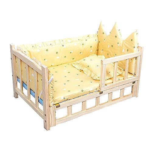 Hundebett Holz Orthopädisches, Schöne Haustier-Bett-Sofa für Mittlere Und Große Hunde Waschbar Sofakissen Mit Kopfstütze (Color : Style2, Size : S(60×38×34cm))