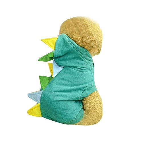 Hanpiyigcwfz Ropa Para Perros, Invierno cálido mascota gato perro ropa para perros pequeños dibujos animados de traje de algodón con capucha, divertido perro gato disfraces de dinosaurios, mascotas Ve