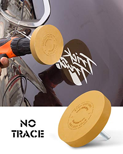 SATC Decal Eraser Wheel4 Inch Pin Stripe Removal Tool 1 Pack Adhesive Remover Wheel with Pad & Adapter Graphics Removal Tool Eraser Wheel Decal Remover