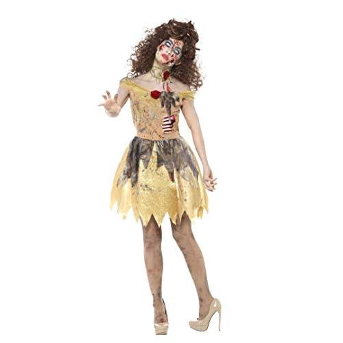 SMIFFYS Costume Golden Fairytale zombie, Giallo, con vestito, costole in lattice, fascia