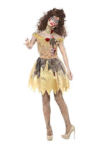 Smiffy's - dames zombie gouden sprookjeskostuum, jurk met aangebrachte latex ribben, haarband en nauwe halskraag, geel