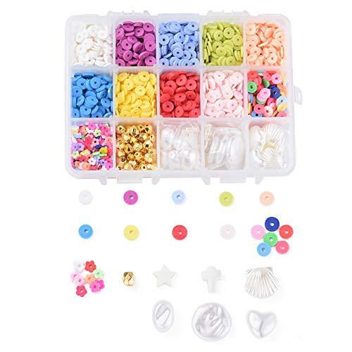 Fashewelry 1900 unidades por caja de 6 mm plana redonda de arcilla de polímero, 10 cuentas de color Heishi con cuentas de plástico para collares, pulseras, pendientes, fabricación de joyas