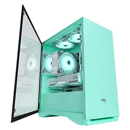JF-TVQJ Caja Pc Gamer Caja para Juegos De PC Mid-Tower Verde, Chasis De Computadora Premium M-ATX - Vidrio Templado De Doble Cara - Preparado para Refrigeración por Agua - Caja para PC USB3.0