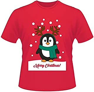 Merry Christmas printing Christmas penguin printing loose Women's clothing Cotton T-shirt