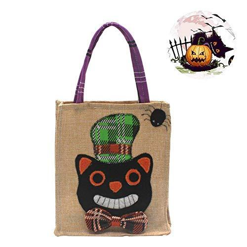 Halloween Goodie Taschen, Halloween Tasche Flax Leinen Party Süßigkeit Geschenkbeutel Tragetasche,Halloween Thema Staubbeutel für Halloween Party (Schwarze Katze)