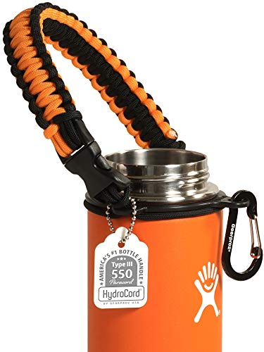 Gearproz Handle for Hydro Flask, Nalgene, Takeya - America's No. 1 Paracord Water Bottle Carrier with Safety Ring - Fits Wide Mouth 12 oz to 64 oz Flasks (Orange)