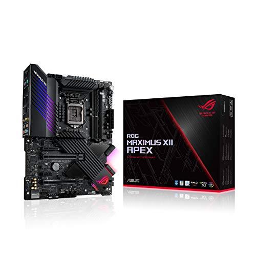 ASUS ROG Maximus XII APEX Gaming Mainboard ATX Intel 10th Gen Z490 LGA 1200 mit 16 Phasen VRM DDR4 5000 Wi-Fi 6 LAN 2.5 GB Triple M2 OptiMem III USB 3.2 Gen 2 und RGB-Beleuchtung Aura Sync