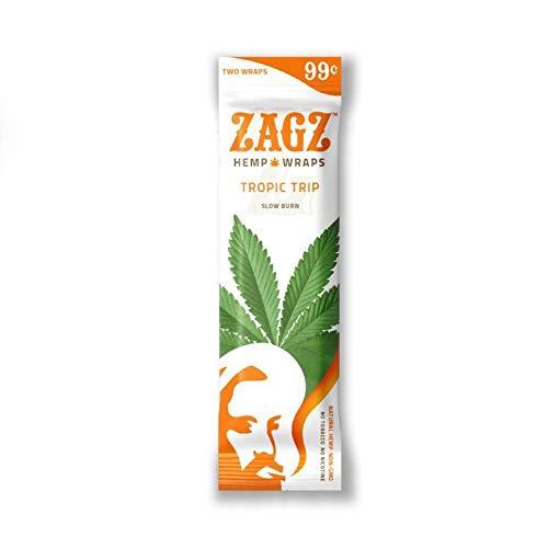 1 Pack (2 Total Wraps) Zagz Flavored Hemp Wraps, Tropic Trip Flavor + Beamer Smoke Sticker
