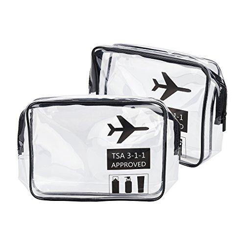 Trousse de toilette transparente approuvée par TSA pour les voyages d'aéroport et les compagnies aériennes - Taille 3-1-1 - Kit de bagages pour bouteilles de liquides - Pour femmes et hommes