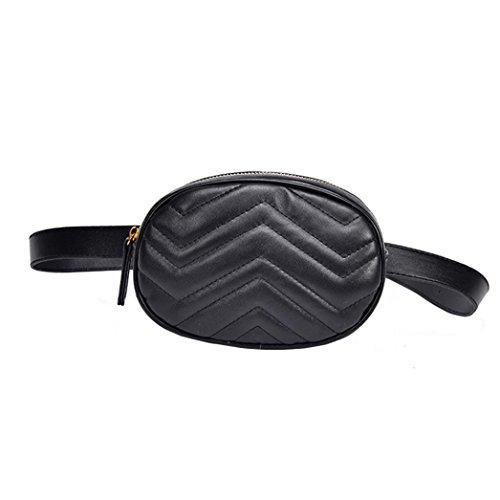 VJGOAL Damen Bauchtasche, Damen Mode Solide Reine Farbe Leder Messenger Schulter Urlaub Arbeit Brust kleine Taschen (Schwarz)