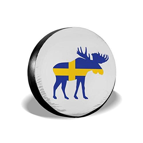 Enoqunt reservewiel-afdekking voor banden met vlag en eland van Zweeds – geschikt voor aanhangers, vrachtwagens, jeap en vele voertuigen