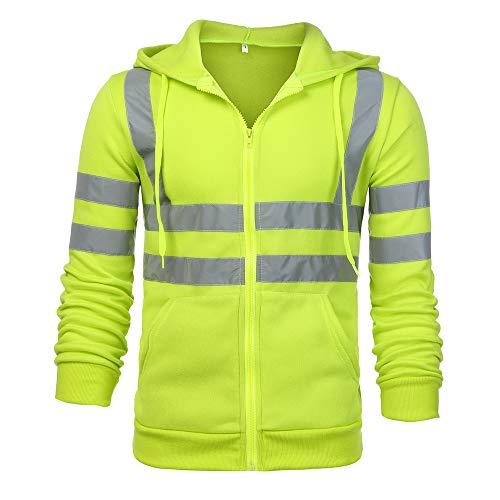 Eghunooye Herren Kapuzen Sweatshirt Reflektierend Jacke Sicherheit Verkehr Arbeitsjacke Warnschutzjacke Gelb Orange Reflektionsstreifen Sicherheit Kapuzenpullover Arbeitskleidung (Grün, XL)