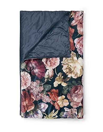 ESSENZA Quilt Claire Blumen Pfingstrosen Tulpen Polyester Indigo Blue, 270x265 cm