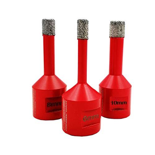 SHDIATOOL Broca de Diamante 3 Piezas/Set Diámetro 6/8/10MM para Perforación en Seco Porcelana Azulejo Granito Mármol M14