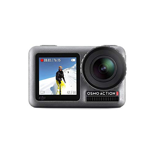 DJI OSMO Action Cam Digital Camera with 2 Displays 36FT/11M Waterproof 4K HDR-Video 12MP 145° Angle Black with Extra Battery