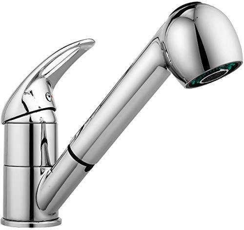 Grifos Lavabos, Grifo de cocina extraible monomando 2 funciones grifo 360°, Grifos de Lavabo y Grifo fregadero cocina con manguera, válvula de cerámica y agua fría y caliente disponible