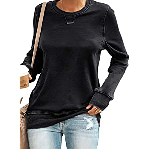Women's Casual Long Sleeve Sweatshirt Round Neck Loose Pullover Tops Tunics