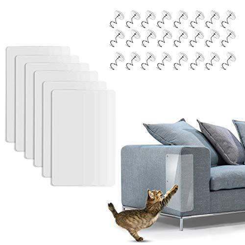 ETHEL Kratzschutz for Katze Hund, 6 Stück Transparent Selbstklebend Anti-Kratz-Pad Kratzschutz Couch Möbelschutz mit 24 Schrauben, Kratzschutz Möbel für Sofa, Tür, Möbel, Wand