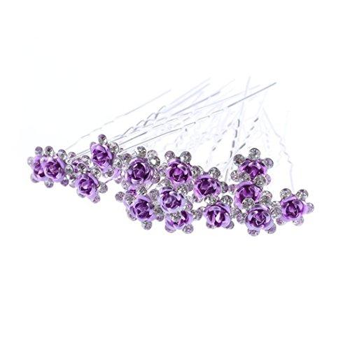 Accessoires cheveux coiffure mariage 1 lot de 5 épingles à chignon fleurs à strass violettes