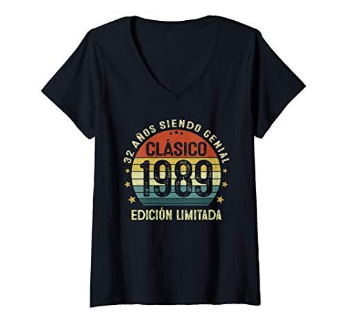 Mujer 32 Años Cumpleaños Hombre Mujer Nacido En 1989 Vintage 1989 Camiseta Cuello V