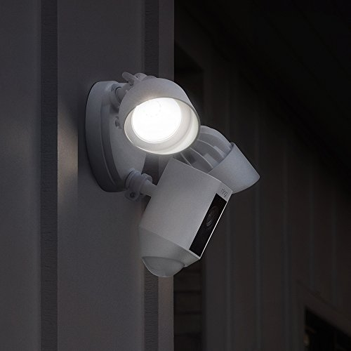 Ring Floodlight Camera Motion-Activated HD Security Cam Two-Wa   y Talk and Siren Alarm, White