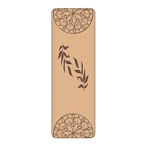 Estera de yoga, alfombra de yoga de corcho con líneas de alineación, amigable ecológico y materiales reciclables de alta densidad grueso para mujeres y hombres, perf