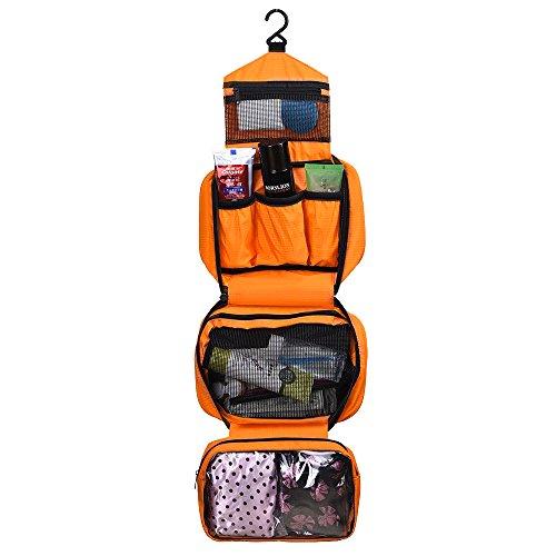 Japace® Beauty Case Sacchetto Cosmetic Borsa da Viaggio Organizzatore di Viaggio con Gancio, Grande Capacità, Portable per Attività Esterna in Viaggio D'affari 24.5 * 8 * 16cm---Arancia