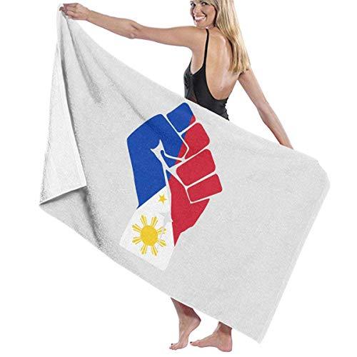 Tcerlcir Strandtuch Badetuch Saunatuch Duschtuch Ultra Leicht Handtuch Schnelltrocknend Saugfähiges Sporthandtuch Philippinen Flagge Faust 130X80cm
