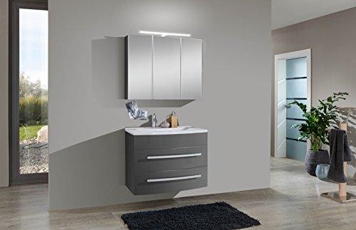 SAM Badmöbel-Set 2-TLG, Genf, Hochglanz grau, Softclose Badezimmermöbel, Waschplatz 80 cm Mineralgussbecken, Spiegelschrank