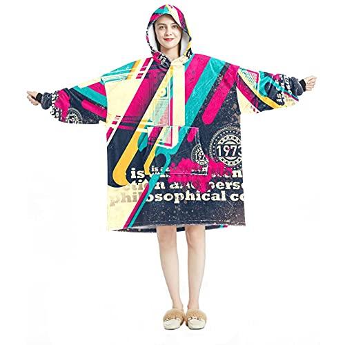 Sudadera con capucha, casual de microfibra suave, camisón cálido para hombres y mujeres con diseños abstractos de patrón de televisión